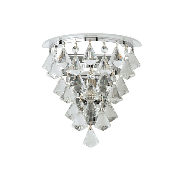 Renner 1 Light Wall Light in Clear Crystal Glass and Chrome