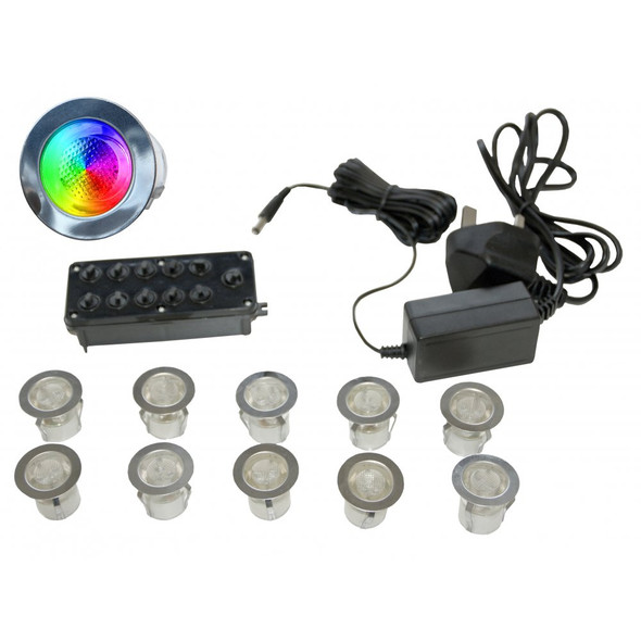 LED-MIDI RGB 3w LED Outdoor Decking or Wall Lights IP67 10 Light Kit