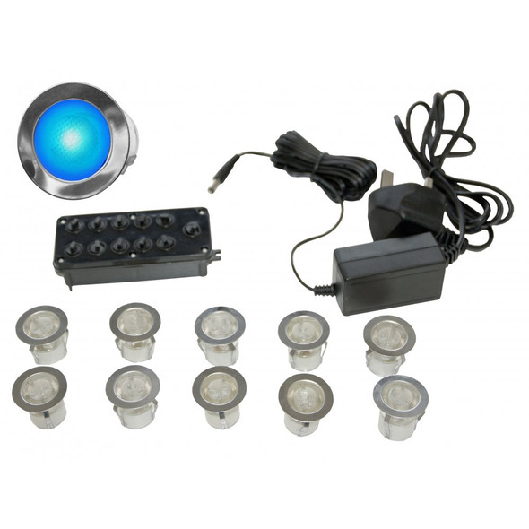LED-MIDI Blue 3w LED Outdoor Decking or Wall Lights IP67 10 Light Kit