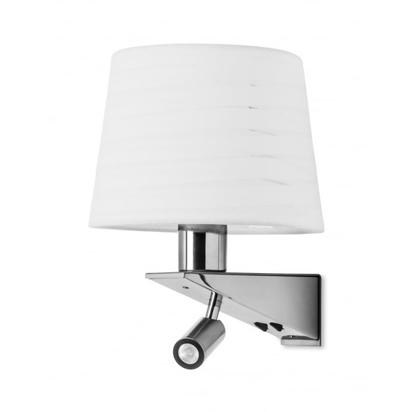 LA CREU Gloss 05-2756-81-21 Wall Lamp with Reading Light in Chrome and Satin Nickel