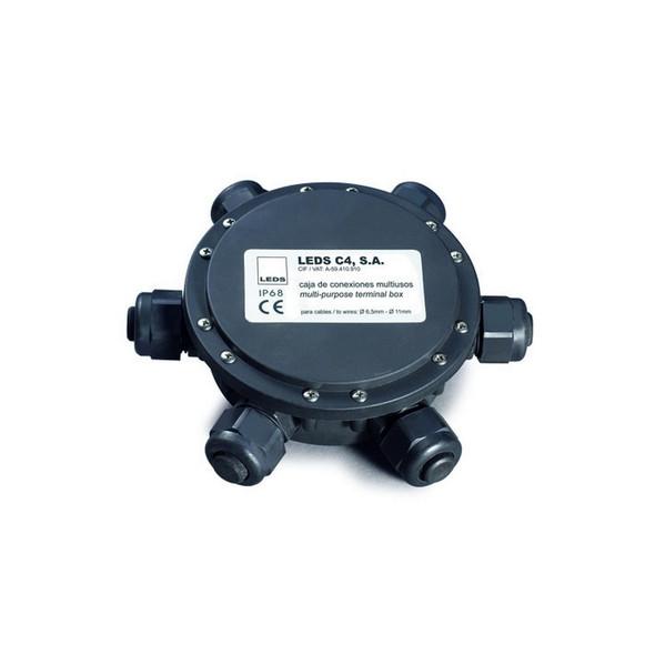 Multi-purpose 6 Way IP68 Rated Weatherproof Junction Connector Box in Black