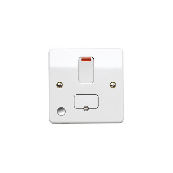 Logic Plus K1070 13 Amp Neon Switched Fused Spur Connection Unit + Front Flex Outlet in White