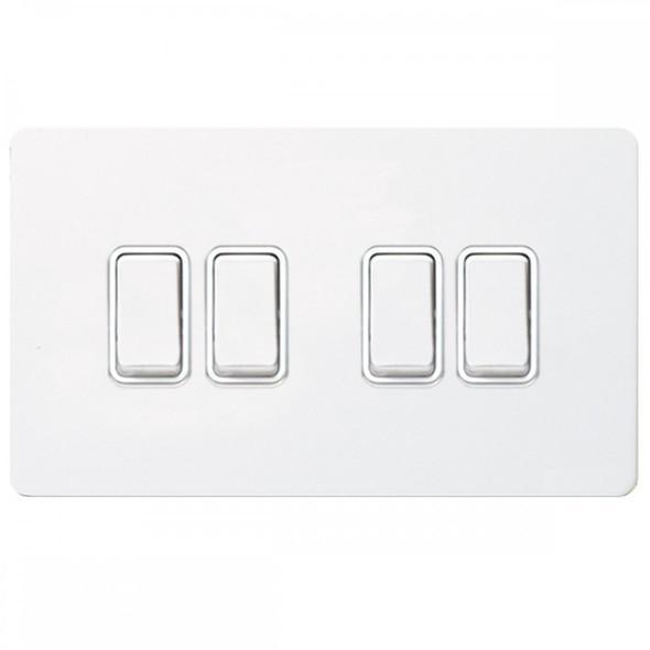GU1442WPW Ultimate Screwless 4 Gang 2 Way Switch in White Metal Painted