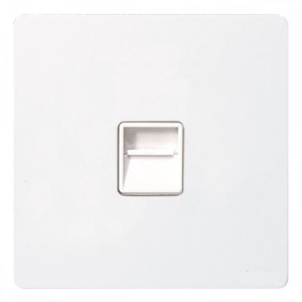 GU7462WPW Ultimate Screwless 1 Gang Slave Telephone Socket in White Metal Painted