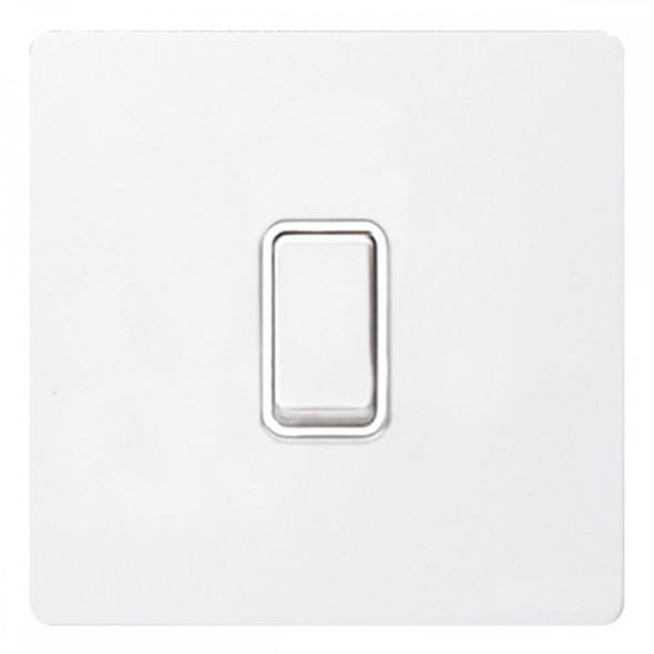 GU1412WPW Ultimate Screwless 1 Gang 2 Way Switch in White Metal Painted