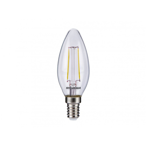 Sylvania 2.5 Watt E14 2700K Non-Dimmable White Clear Retro Candle LED bulb