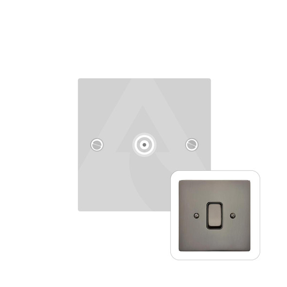 Stylist Grid Range 1 Gang Non-Isolated TV Coaxial Socket in Polished Bronze -  - Black Trim - L07.3610.BK