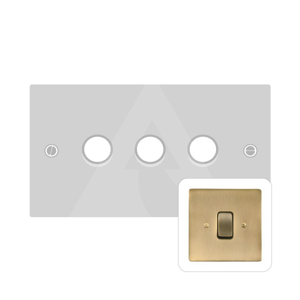 Stylist Grid Range 3 Gang LED Dimmer in Antique Brass -  - Trimless - L91.380.TED