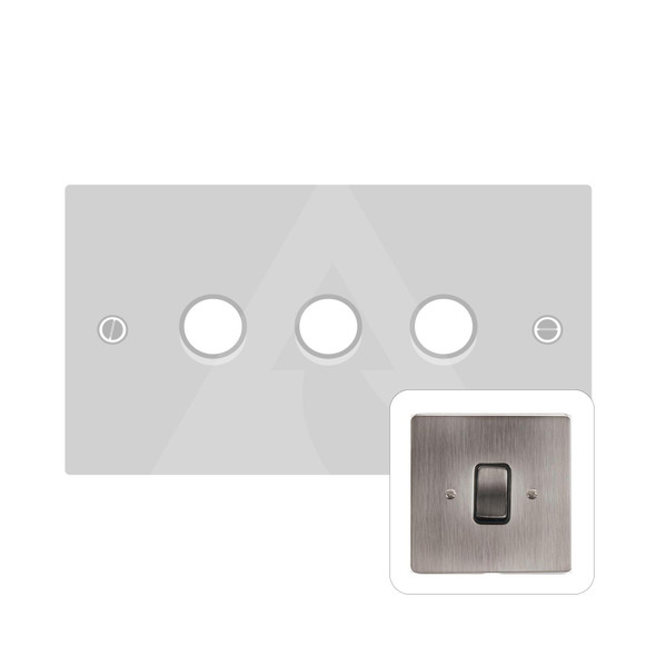 Stylist Grid Range 3 Gang LED Dimmer in Antique Pewter -  - Trimless - L96.380.TED