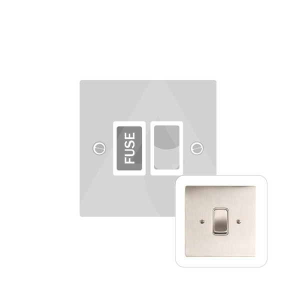 Stylist Grid Range Switched Spur with Flex Outlet (13 Amp) in Satin Nickel -  - White Trim - L05.3668.SNW