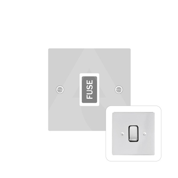 Stylist Grid Range Unswitched Spur (13 Amp) in Polished Chrome -  - White Trim - L02.3650.W