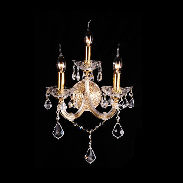 Classic Candle-Shaped Triple Crystal Wall Light in Gold