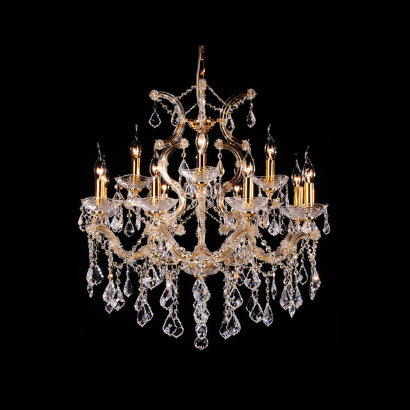 Classic 12 Candle Lamps Chandelier in Gold Finish 12