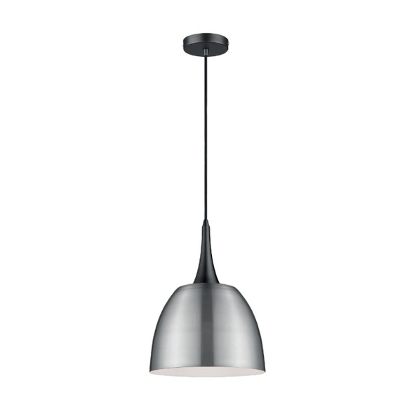 Modern Dome Pendant Light in Satin Nickel Finish 60W