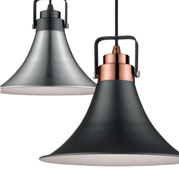 Urban Bell-Shaped Metal Pendant Light in Satin Nickel Finish