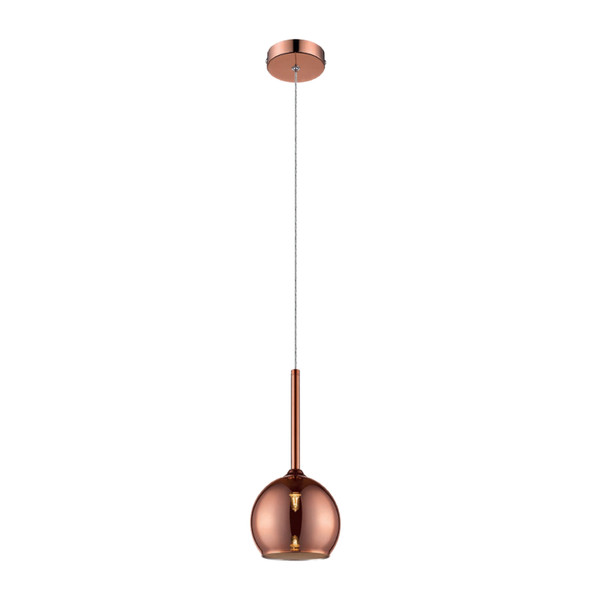 Glass Plum Pendant Light in Copper Finish