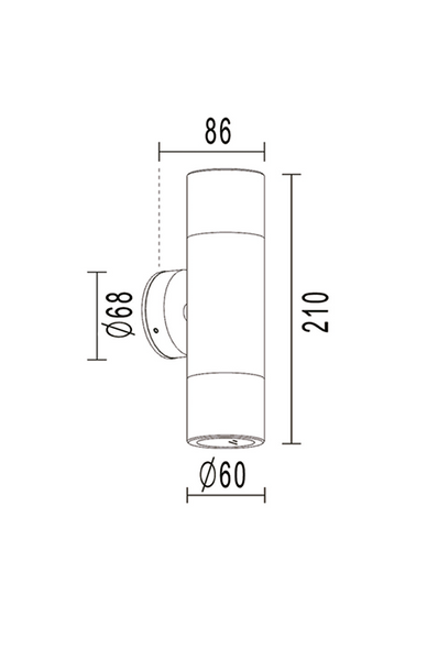 Outdoor Up & Down Wall Light in Solid Stainless Steel 316 Steel IP65