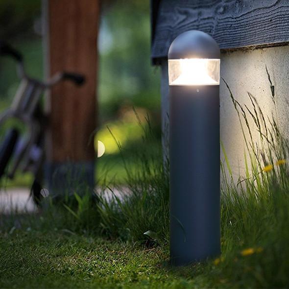12w LED Garden Outdoor Bollard Post in Textured Matt Grey Dome Top IP54 4000K