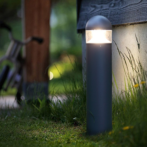 12w LED Garden Outdoor Bollard Post in Textured Matt Grey Dome Top IP54 4000K