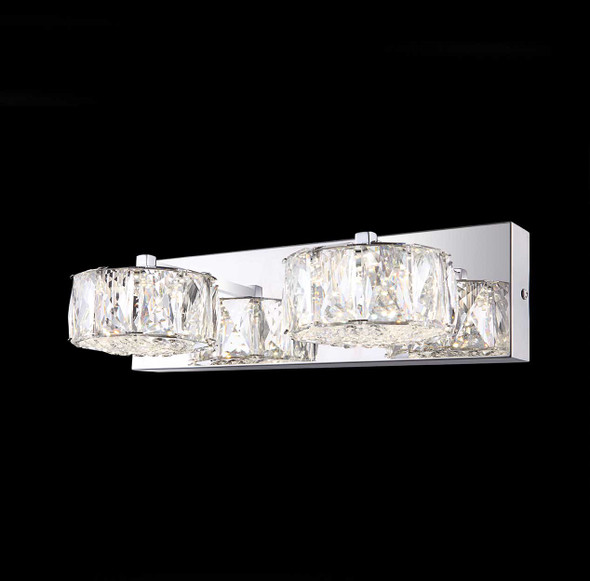 Fion LED Wall Twin Crystal Light in Chrome