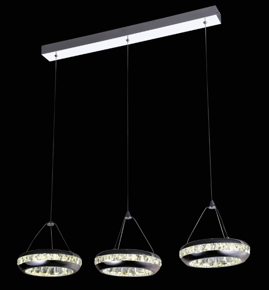 Bennu Triple LED Pendant Light in Chrome