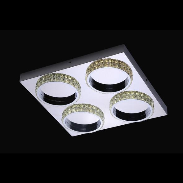 Valentina Modern Square 4 Ring LED Crystal Flush Ceiling Light in Polished Chrome