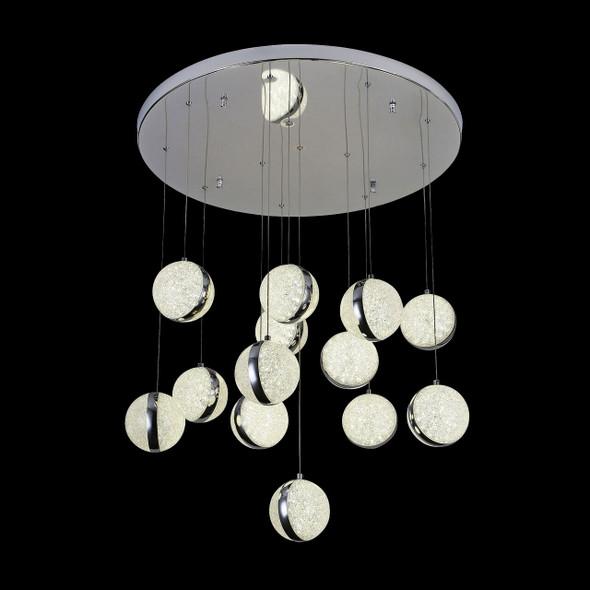 Modern Pendant Globes LED Light in Chrome Finish