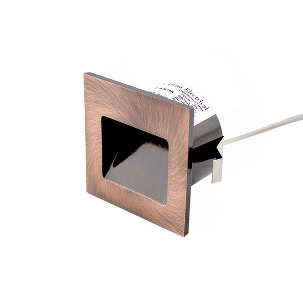 Dimmable 3w Small Square Recessed LED Wall Light in Brushed Copper IP40 3000K