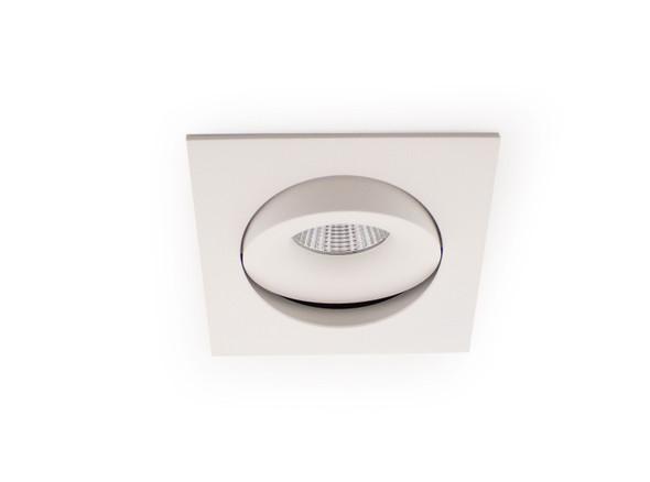 Square Tiltable 10W Dimmable COB LED Downlight 4000K IP44 in Matt White Low Profile