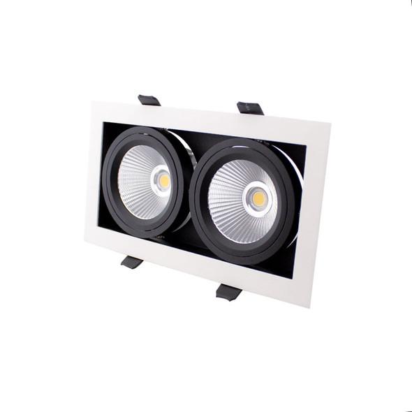 Twin Recessed Multi Tilt 20W Dimmable LED Spotlight 3000K IP44 in Matt White
