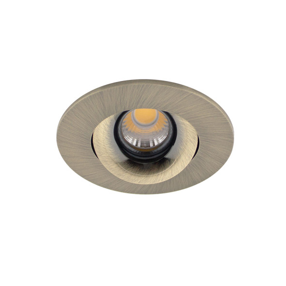 Small Round Tiltable 6W Dimmable LED Downlight 3000K IP44 & Fire Rated in Antique Brass