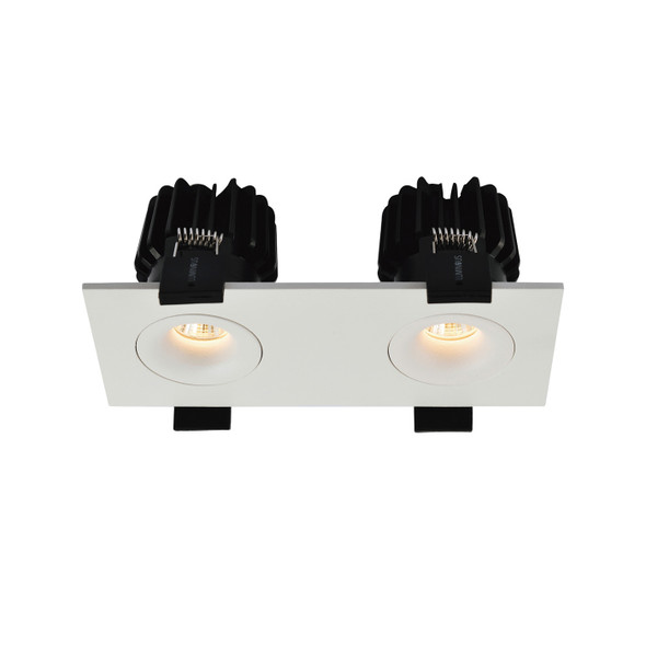 Twin Mini Square 12W Dimmable LED Downlight IP65 & Fire-Rated in Matt White