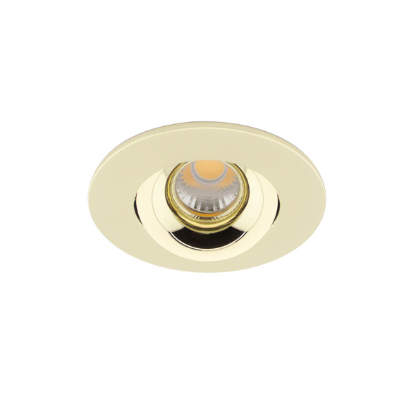 Small Round Tiltable 6W Dimmable LED Downlight 3000K IP44 & Fire Rated in Polished Brass