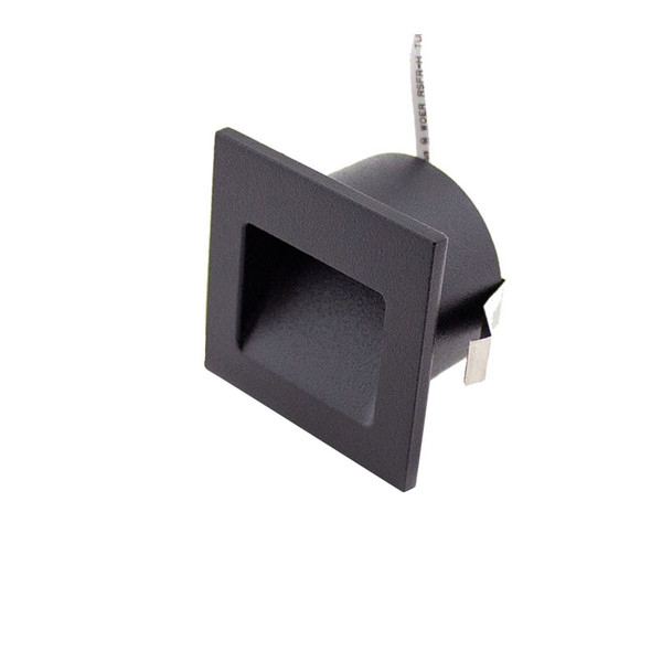 Dimmable 3w Small Square Recessed LED Wall Light in Matt Black IP40 3000K