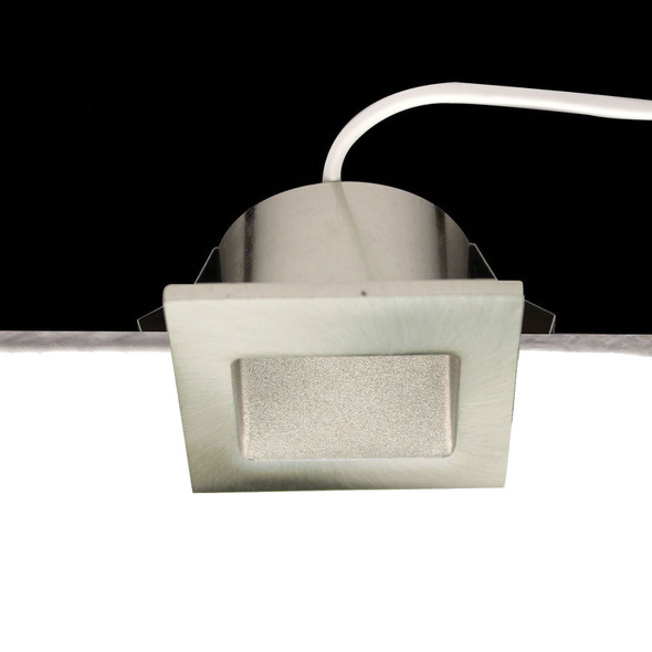 Dimmable 3w Small Square Recessed LED Wall Light in Satin Nickel IP40 3000K