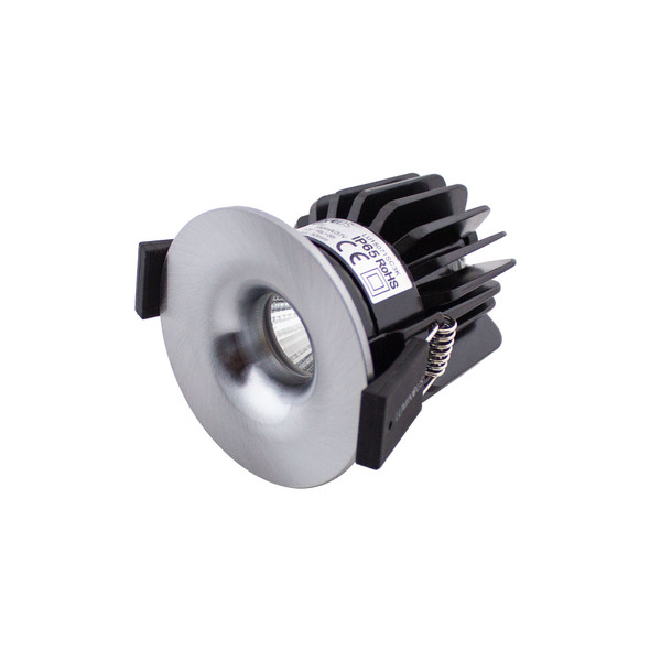 Small Round Fixed 6W Dimmable LED Downlight 3000K IP65 & Fire Rated in Satin Chrome