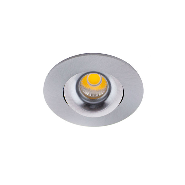 Small Round Tiltable 6W Dimmable LED Downlight 3000K IP44 & Fire Rated in Satin Chrome