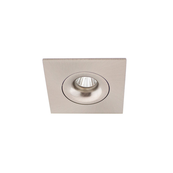 Small Square Tiltable 6W Dimmable LED Downlight 3000K IP44 & Fire Rated in Satin Nickel
