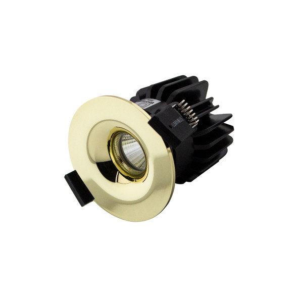 Small Round Fixed 6W Dimmable LED Downlight 3000K IP65 & Fire Rated in Polished Brass