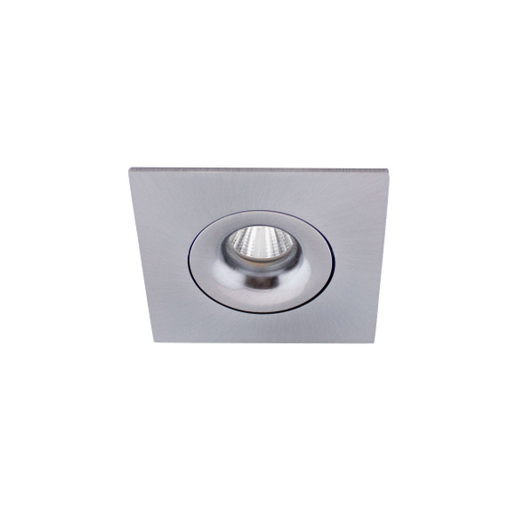 Small Square Tiltable 6W Dimmable LED Downlight 3000K IP44 & Fire Rated in Satin Chrome