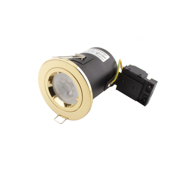 Fire Rated IP65 Downlight in Polished Brass/ GU10 Lamp Holder
