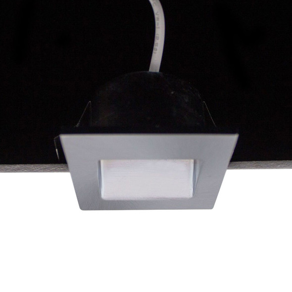 Dimmable 3w Small Square Recessed LED Wall Light in Satin Chrome IP40 3000K