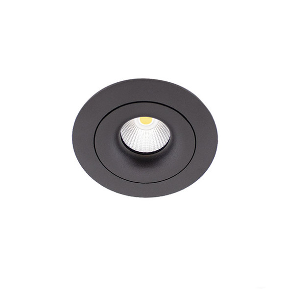 Tiltable 10W Dimmable LED Downlight 3000K IP65 & Fire Rated in Matt Black Low Profile