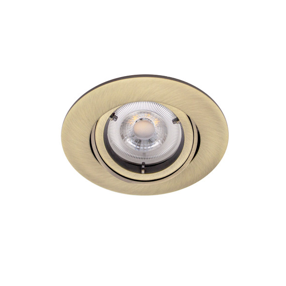Adjustable Fire Rated GU10 Downlight IP20 - up to 50W / 90 min in Antique Brass