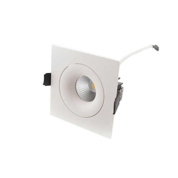 Square Tiltable 10W Dimmable COB LED Downlight 3000K IP44 in Matt White Low Profile
