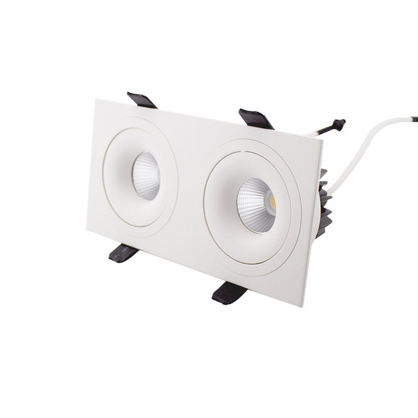 Twin Tiltable 10W Dimmable LED Downlight 3000K IP44 in Matt White Low Profile