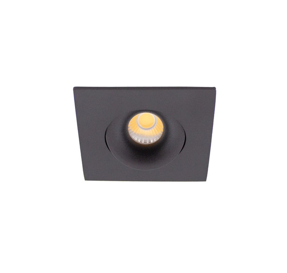 Small Square Tiltable 6W Dimmable LED Downlight 3000K IP44 & Fire Rated in Matt Black