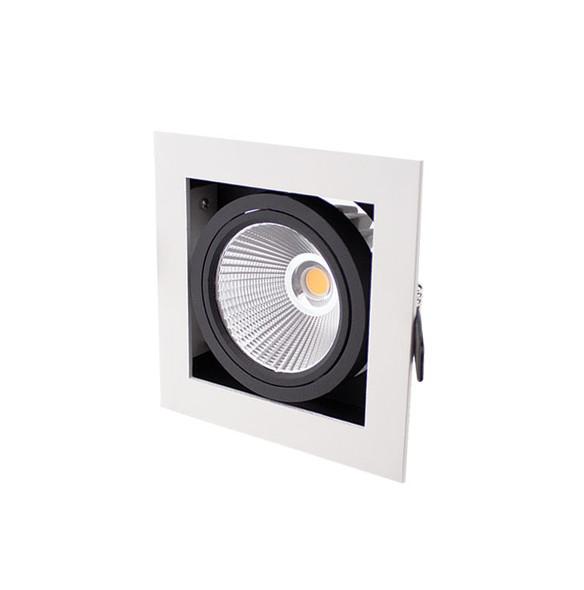 Single Recessed Multi Tilt Square 10W Dimmable LED Spotlight 3000K IP44 in Matt White