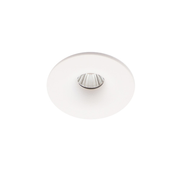 Small Round Fixed LED Downlight 6W Dimmable 4000K IP65 & Fire Rated in Matt White