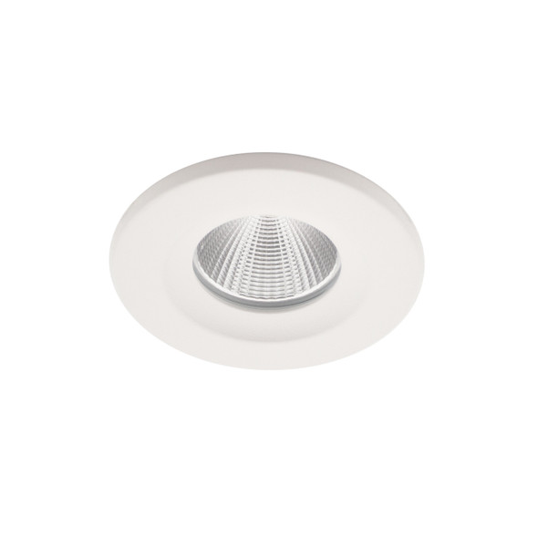 8W Dimmable LED Downlight with Interchangable Bezel 4000K IP65 & Fire Rated in Matt White